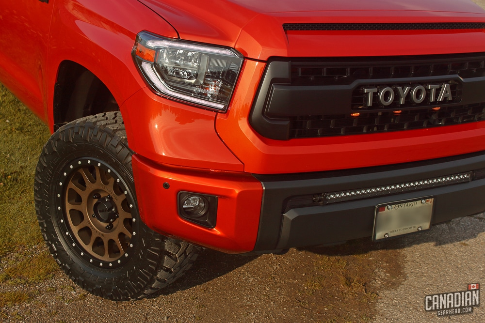 TRD Pro Tundra grill with 2018 LED headlights and light bar